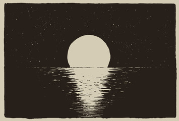 Sunset at the night sea on coast.Vector illustration