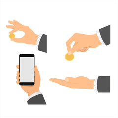 isolated vector painted hands in business suit holding phone, coins, icons for web