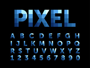 pixel alphabet, bright font from squares for text, letters