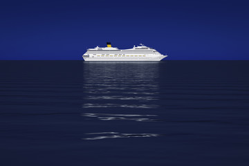 a bright white cruise ship in front of the dark blue sky