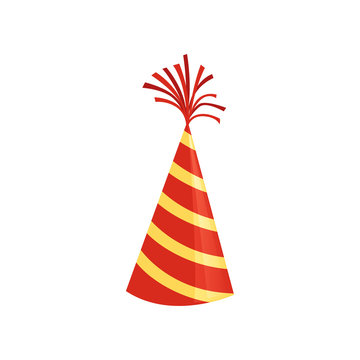 Red cone hat with yellow stripes. Colorful accessory for Birthday party. Bright vector icon in flat style. Graphic decorative element
