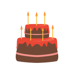 Two-tiered cake with red glaze and seven burning candles. Tasty dessert for Birthday celebration. Sweet pie. Cartoon design for postcard. Flat vector icon