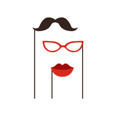 Black mustache, red glasses and lips on sticks. Festive accessories for Birthday party and carnival. Modern flat vector design. Graphic decorative elements