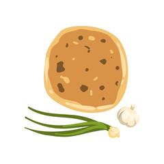 Cartoon illustration of khachapuri, green onion and garlic. Traditional Georgian dish of cheese-filled bread. National cuisine of Georgia. Flat vector icon