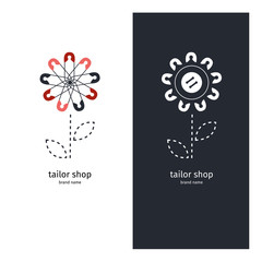 Logo for tailor shop, logotype of the pins, sign for atelier.