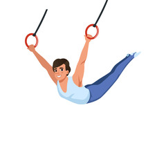 Young guy training on rings apparatus. Artistic gymnastics. Individual Olympic sport. Cartoon sportsman in gymnast costume. Flat vector design