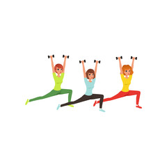 Cartoon women doing exercise with dumbbells. Butt and leg workout. Young girls in sportswear. Physical activity and healthy lifestyle. Sporty people. Flat vector