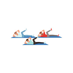Sporty young guys doing twist crunches exercises. Active workout. Cartoon men in sportswear. Healthy lifestyle. People in fitness center. Flat vector design