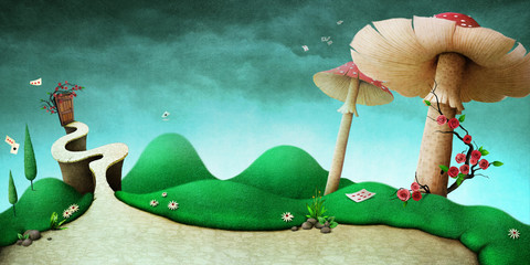 Conceptual fantasy background  for illustration or poster or photo wallpaper  with  story Wonderland
