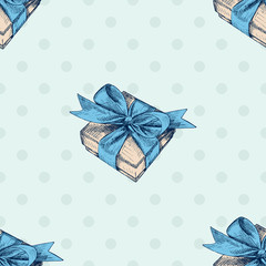Seamless pattern. Gift box with blue bow . Hand drawn illustration