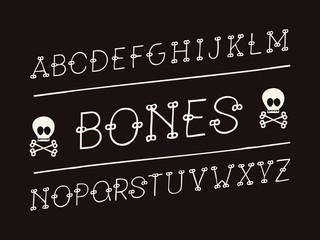 Bones italic font. Vector alphabet