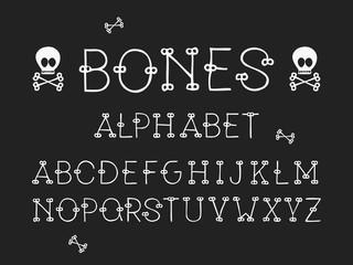 Bones regular font. Vector alphabet