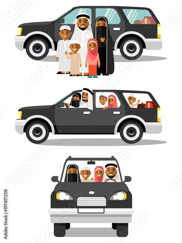 Happy muslim arabic family traveling by car in different