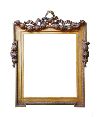 Vintage wooden frame on white background isolated