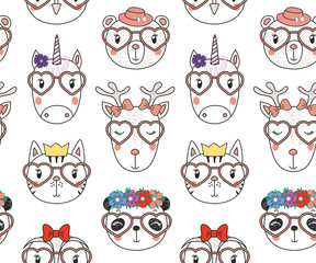 Hand drawn seamless vector pattern with cute animal faces in heart shaped glasses, different hats, on a white background. Design concept for children, textile print, wallpaper, wrapping paper.