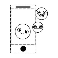 smartphone device with emoticons faces vector illustration design
