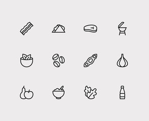 Garlic and nutrition icons set with bacon, meat beef and soy. Set of nutrition icons including healthcare sign for your web app logo UI design.