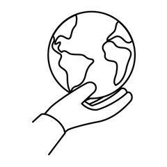 hand lifting world planet earth icon vector illustration design