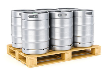 Metal beer kegs on pallet