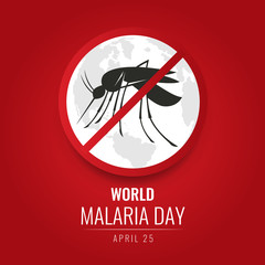 World Malaria day with No Mosquito Sign and world map on red background vector design