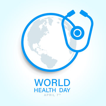 World health day with world earth map in circle around stethoscope sign vector design