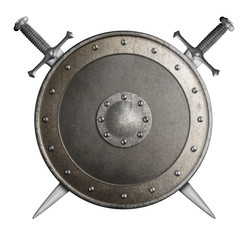 medieval metal shield with crossed swords isolated 3d illustration