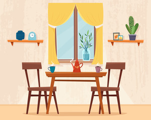 Dining table in kitchen with chairs