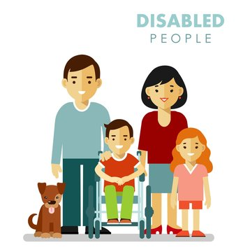 Family with disabled children concept in flat style isolated on white background. Father, mother, daughter and son in wheelchairs standing together.