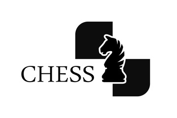 Chess knight vector logo isolated on white background