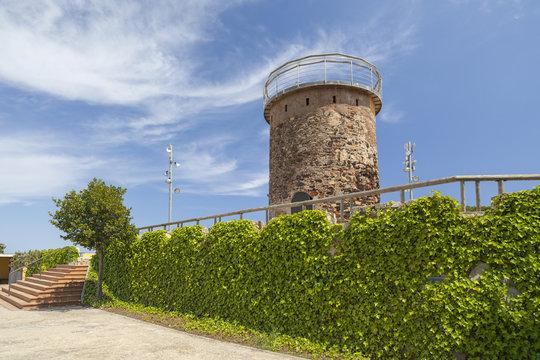 Ancient tower defense, Torreta del Castell in  the city of Malgrat de Mar, Maresme region, province Barcelona, Catalonia.