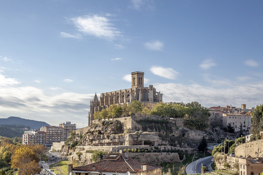 General view of the catalan city of Manresa with cathedral or La Seu in center, province Barcelona, Catalonia, Spain.