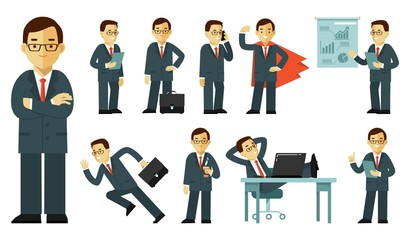 Set of businessman characters in different poses in flat style isolated on white background. Business man in office with gestures and actions