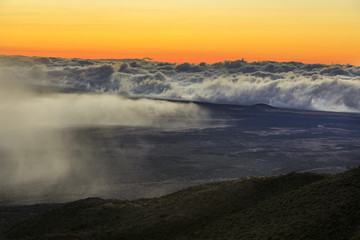 Sunset at the summit of Mauna Kea Mountain, Big Island, Hawaii, USA