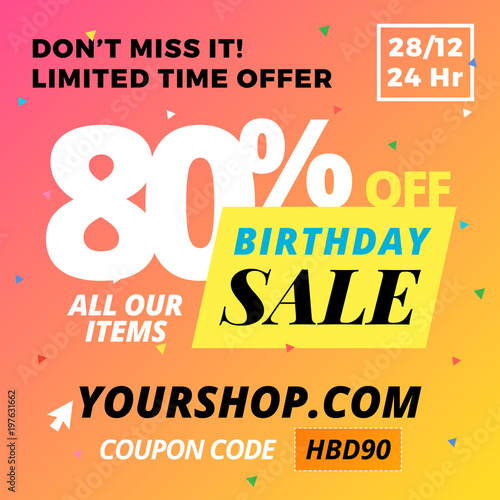 """""""Happy Birthday Super Sale Banner. Online Shop Website"""