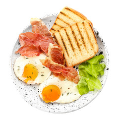 Plate with fried eggs, bacon, toasts and lettuce on white background