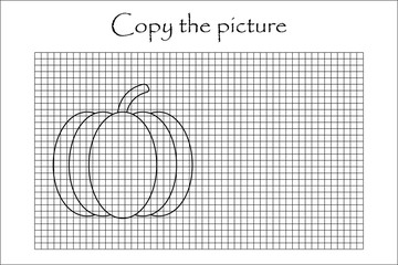 Copy the picture, black white pumpkin, drawing skills training, educational paper game for the development of children, kids preschool activity, printable worksheet, vector illustration