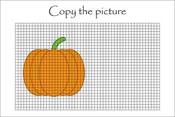 Copy the picture, pumpkin in cartoon style, drawing skills training, educational paper game for the development of children, kids preschool activity, printable worksheet, vector illustration