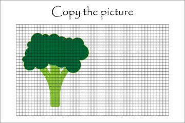 Copy the picture, broccoli in cartoon style, drawing skills training, educational paper game for the development of children, kids preschool activity, printable worksheet, vector illustration