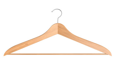 Front view of wooden clothes hanger isolated on white - 3D Rendering