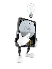 Hard disk drive character with an idea