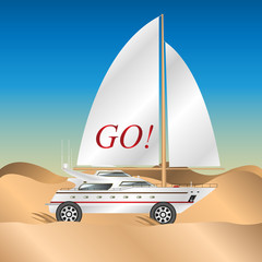 sailing yacht on wheels in the desert