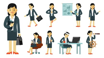 Set of businesswoman characters in different poses in flat style isolated on white background. Business woman in office with gestures and actions