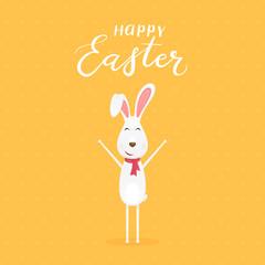 Orange background with happy Easter rabbit