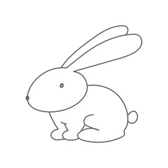 Rabbit outline, bunny silhouette. Easter symbol. Vector icon.