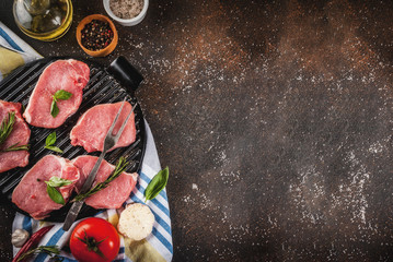 Raw meat, pork steaks with spices, herbs, olive oil, dark background on grill pan, top view, copy space
