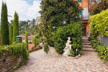 Bergamo, Italy - August 18, 2017: Patio of the old apartment building.