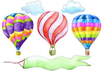 Set of hot air balloons watercolor illustration