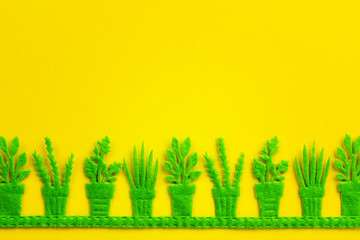 Silhouettes of green pots with plants on yellow background.