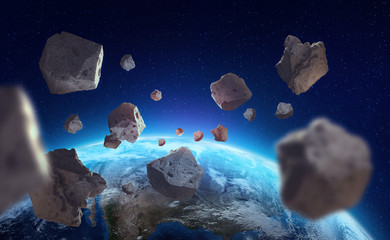 Asteroids near the planet Earth. A view of the globe from space. Elements of this image are furnished by NASA