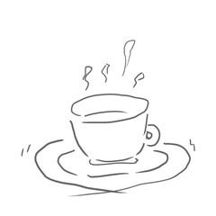 紅茶。飲み物、ジュース、お酒などの線画、下絵、ラフ、塗り絵ゆるいイラスト